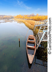 autumn lake and boat