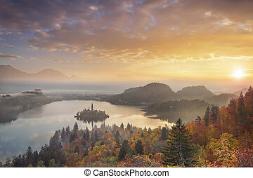 Autumn Lake Bled. - Lake Bled with St. Marys Church of the...