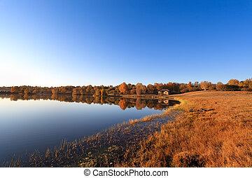 autumn lake in early morning