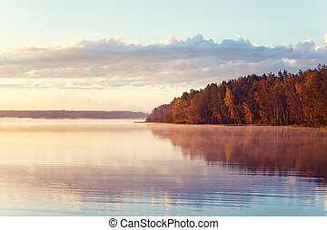Autumn lake in sunrise