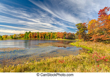 Autumn Lake in the American Midwest - Sunlit autumn lake in...
