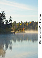 Autumn lake - Misty lake on autumn morning
