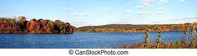 Autumn Lake Panoramic - Autumn colors glow in the late ...