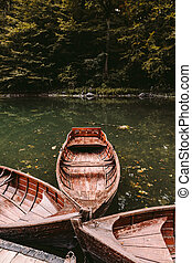 autumn lake with boats