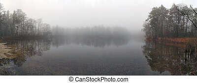 Autumn lake with forest and fog