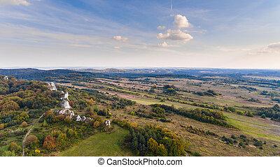 Autumn landscape aerial drone view