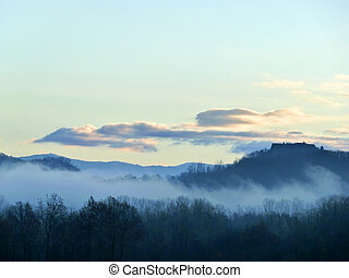 autumn landscape at dawn