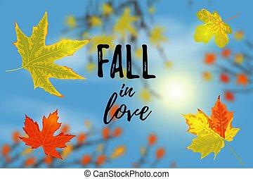Autumn landscape. Autumn tree leaves, sky, sun background. Text Fall in love. Vector illustration