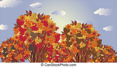 Autumn landscape banner with trees