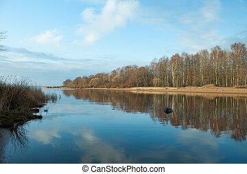 Autumn landscape blue river