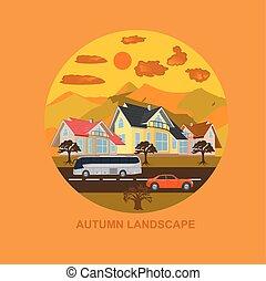 autumn landscape, city, vector
