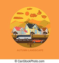 autumn landscape, city, vector