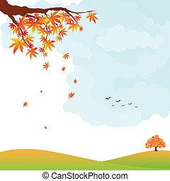 Autumn landscape colorful leaves