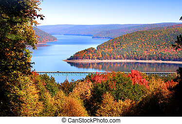 Autumn landscape - Colorful trees by Allegheny river in...