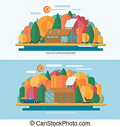 Autumn landscape concept illustrations