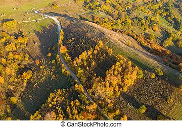 Autumn landscape drone aerial