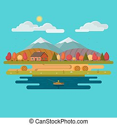 Autumn landscape. Flat design vector illustration