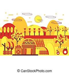 Autumn landscape. Flat vector illustration