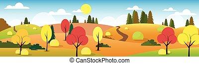 Autumn Landscape Forest Road Blue Cloud Sky Tree Flat Design Vector Illustration