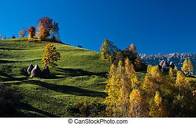 Autumn landscape in an alpine village (Romania)