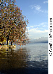 Autumn landscape in Annecy lake, Savoy, France