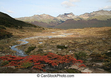 Tierra del Fuego - Autumn Landscape in Tierra del Fuego,...