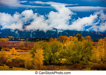 Jackson hole Wyoming Autumn Landscape Fall Colors Thick Clouds