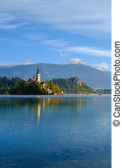 Autumn landscape of Bled Lake