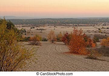autumn landscape of Bledow Desert in Poland