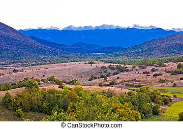 Autumn landscape of Lika region and Velebit