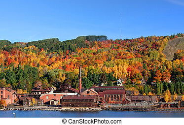 Autumn landscape - Old rustic industry in Michigan upper...
