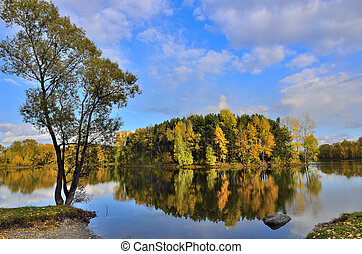 Autumn landscape on the lake