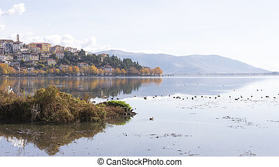 Autumn landscape on the lake, Kastoria