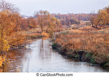 landscape on the river Kalmius located in Donetsk region