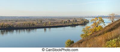 autumn landscape on the river