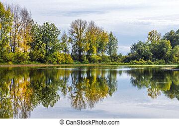 Autumn landscape on the Siberian river