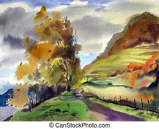 Autumn landscape painted by watercolor
