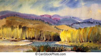 Autumn landscape painted by watercolor .