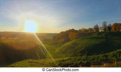autumn landscape, panorama, timelap