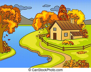 Autumn landscape pop art vector illustration
