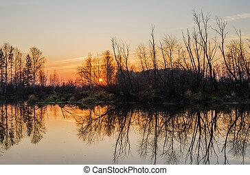 Autumn landscape. Russia - Beautiful landscape. Sunset on...