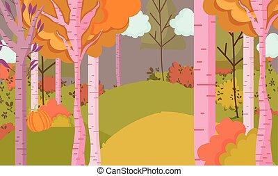 autumn landscape trees leaves hills sky clouds