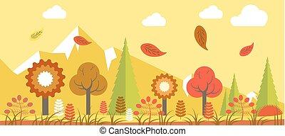 Autumn landscape vector colorful poster in graphic design