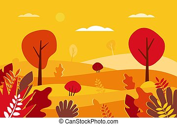 Autumn landscape Vector illustration in flat style