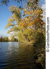 autumn landscape with a pond, Vorontsov Park, Moscow, Russia