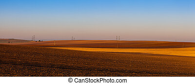 Autumn landscape with agricultural land,Czech Republic.