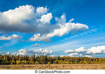 Autumn landscape with beautiful clouds.