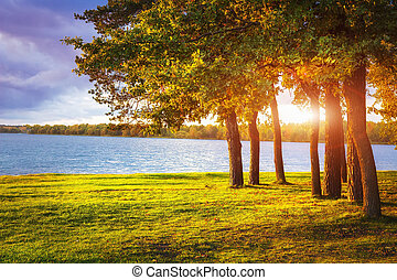 Autumn landscape with colorful trees on lake shore at sunset.