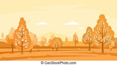 Autumn landscape with fields