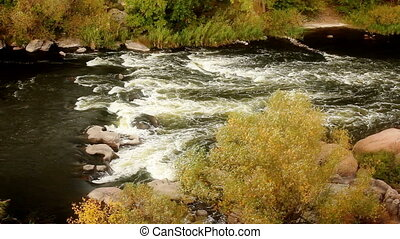 Autumn landscape with flowing river, Full HD